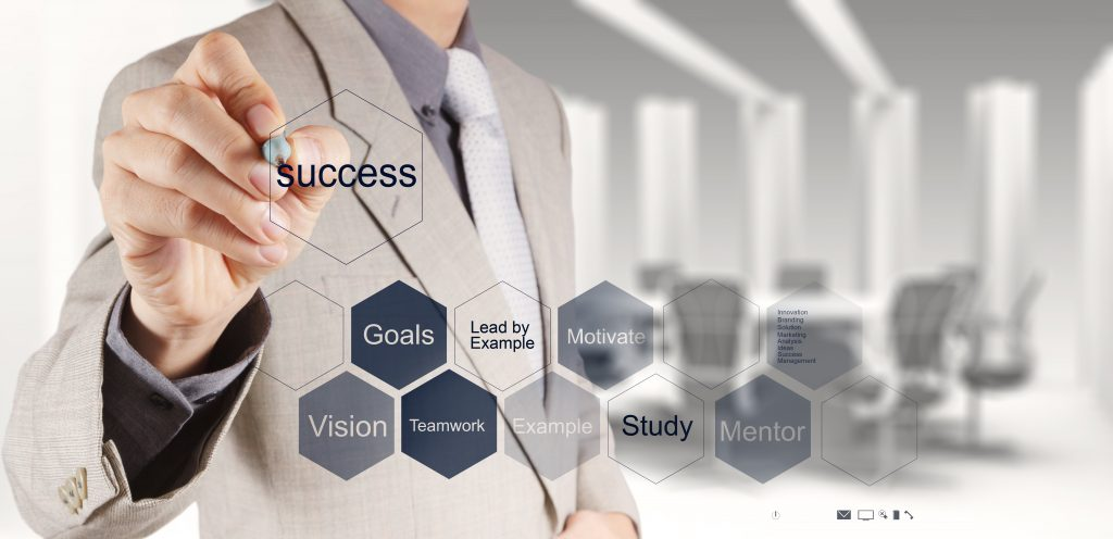 businessman hand shows diagram of business success chart as concept